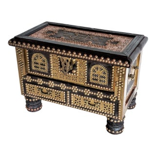 1960s Hollywood Regency Shiraz Brass Studded Arab Chest For Sale
