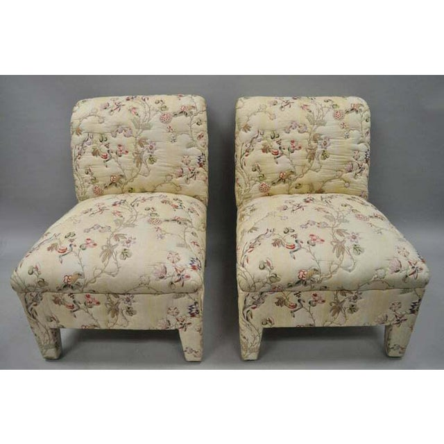 Vintage Upholstered Chinoiserie Slipper Lounge Chairs- A Pair For Sale - Image 10 of 11