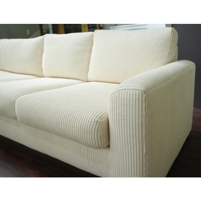 Contemporary Milo Baughman Inspired 3-Piece White Chenille Modernist Sectional Sofa For Sale - Image 3 of 7