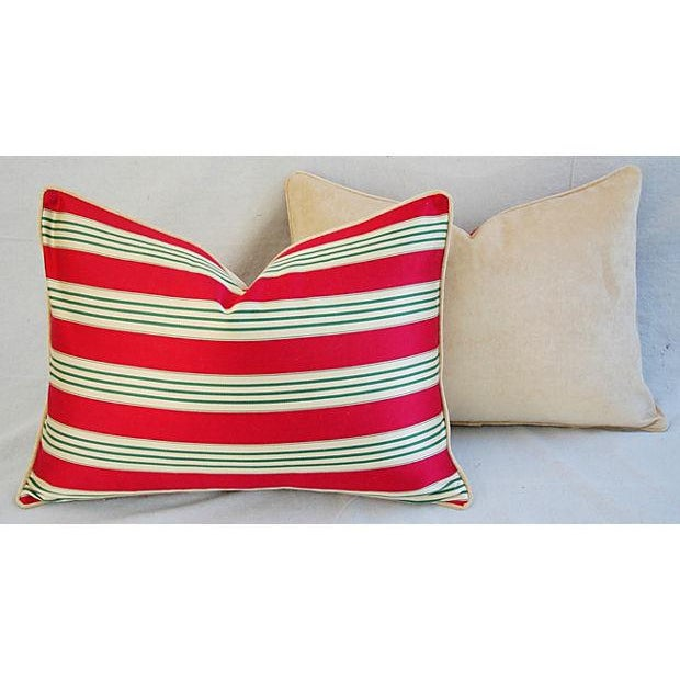 Red, Cream & Green French Stripe Ticking Velvet Feather/Down Pillows - Pair For Sale In Los Angeles - Image 6 of 6