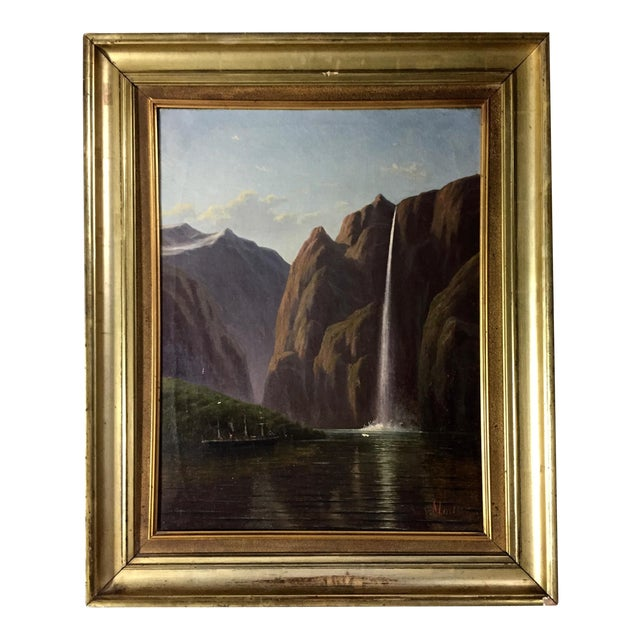 C1873 Danish Painting of a Waterfall and Steamer For Sale