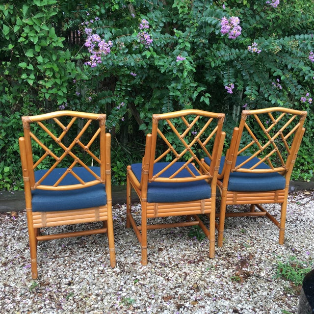 Chippendale Rattan Side Chairs - Set of 3 - Image 6 of 11