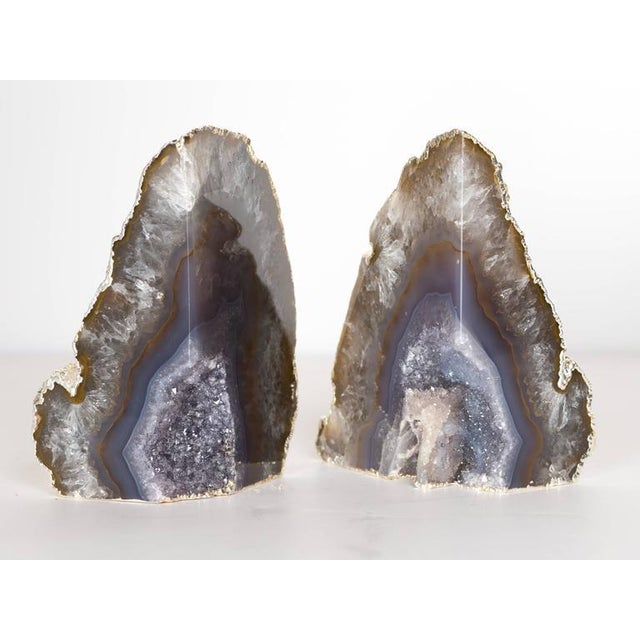 Organic Agate and Quartz Crystal Bookends Wrapped in White Gold - Image 2 of 8