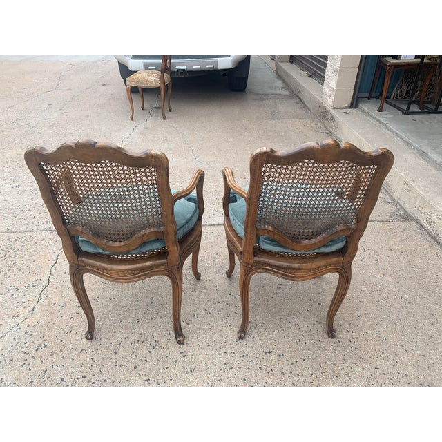 Early 20th Century French Louis XV Style Walnut Caned Fauteuils- a Pair For Sale - Image 4 of 13