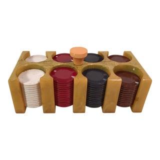 Vintage Bakelite Poker Chips & Caddy - Set of 106