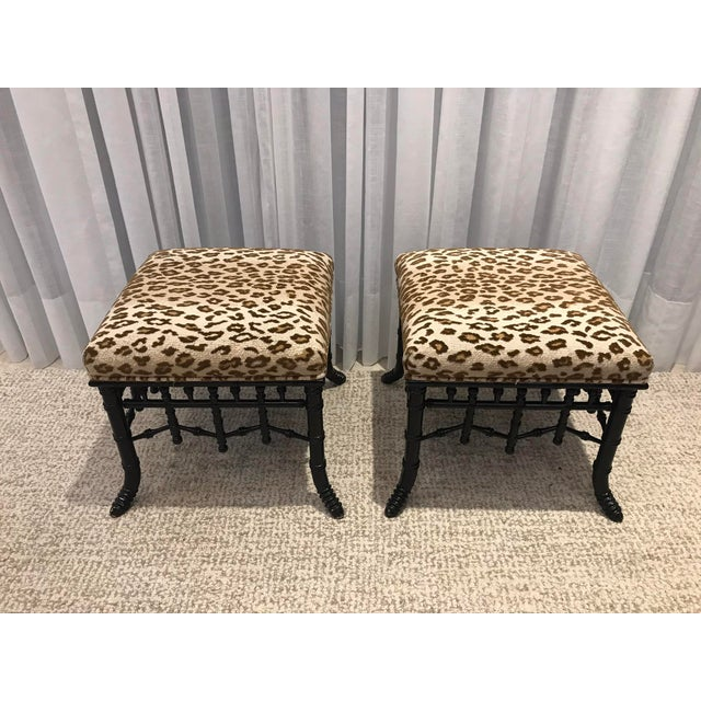 Faux Bamboo Foot Stools with Leopard Upholstery - a Pair For Sale - Image 13 of 13