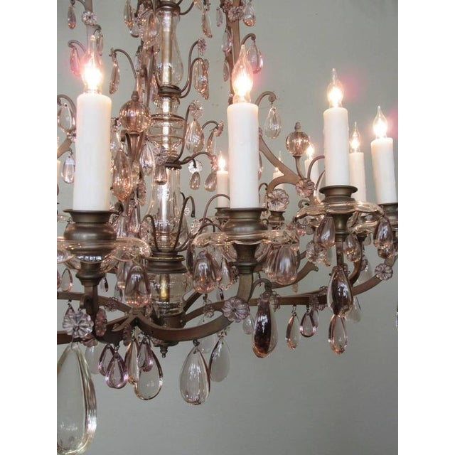 Early 20th C Italian Patinated Bronze, Crystal and Amethyst Chandelier For Sale - Image 4 of 9