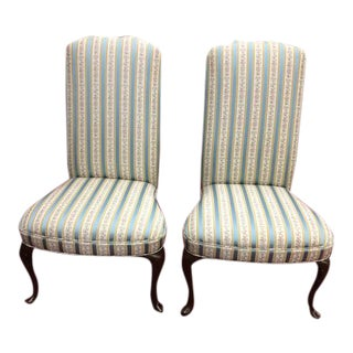 Vintage Queen Anne Upholstered Slipper Chairs - a Pair For Sale