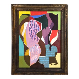 Vintage Cubist Abstract Painting