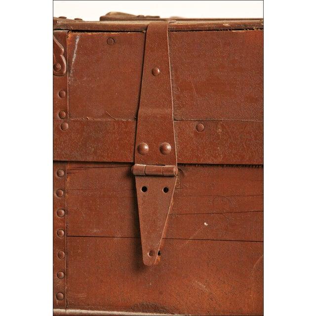 Vintage Brown Wood Steamer Trunk - Image 10 of 11