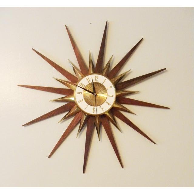 Vintage Elgin Mid Century Star Burst Wall Clock - Image 3 of 8