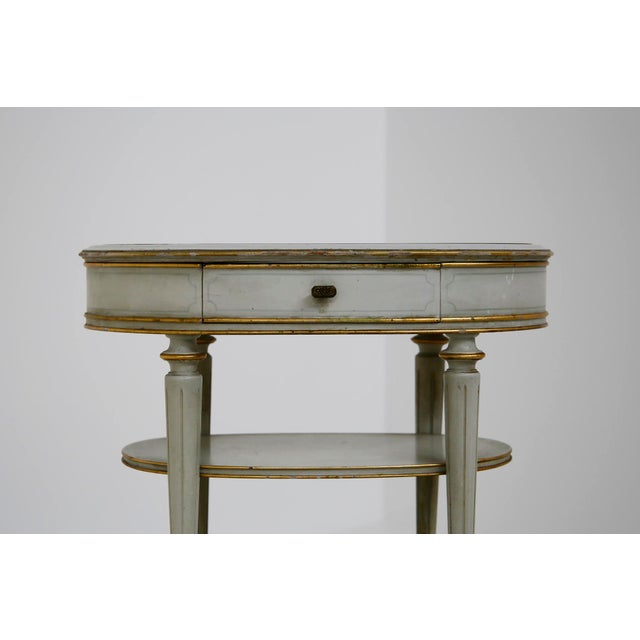Pair of French Style White Bedside Tables in Wood and Orange Gilt Glass. 1940s For Sale - Image 9 of 12