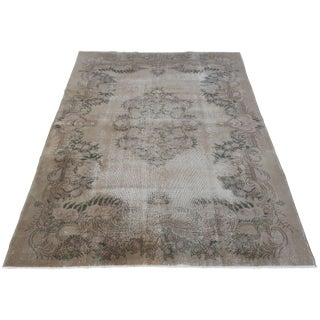 Antique Oushak Neutral, Purple and Green Rug With Foliate Detail For Sale