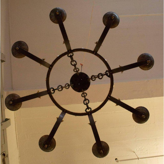 1940's Round Wrought Iron Chandelier with 8 Arms - Image 10 of 11