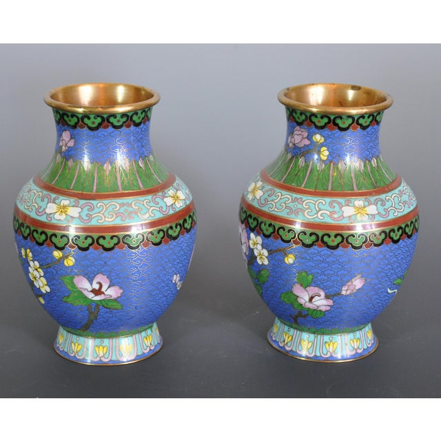 Metal Vintage Chinese Cloissone Vases - A Pair For Sale - Image 7 of 7