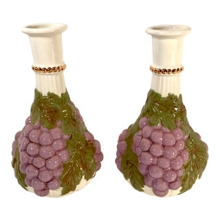 Vintage Grape Figural Ceramic Vases - a Pair For Sale