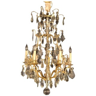 A Fine Six Light Cut Crystal & Brass Chandelier Newly Wired For Sale