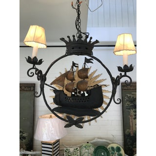 Late 20th Century Natuical Iron Sailboat Ship Chandelier Preview
