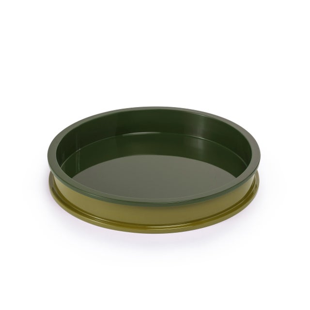 Contemporary Small Circular Tray in Light Olive / Dark Olive - Jeffrey Bilhuber for The Lacquer Company For Sale - Image 3 of 3