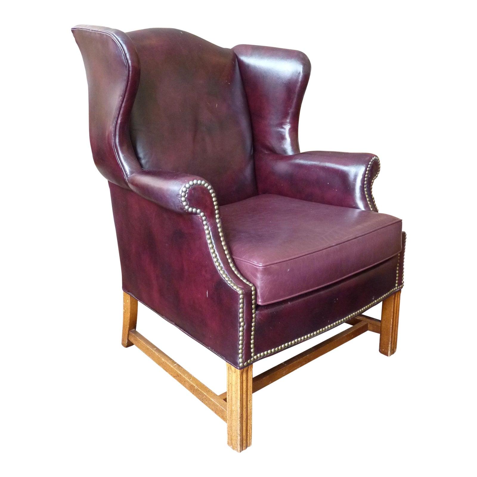 Vintage Sherrill Burgundy Leather Wingback Chair Chairish
