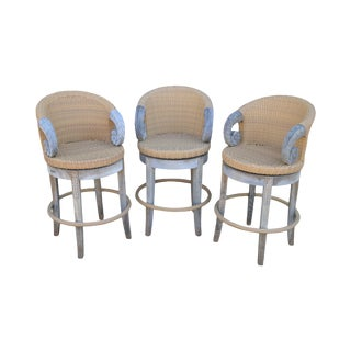 Brown Jordan Tommy Bahama Teak and Outdoor Wicker Set 3 Patio Bar Stools For Sale