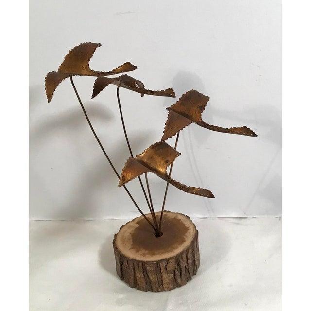 "Vintage Brutalist ""Geese in Flight"" Metal Sculpture For Sale - Image 11 of 11"