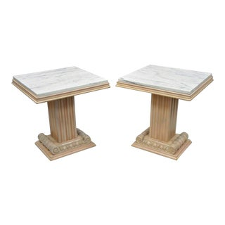 20th Century Hollywood Regency Grosfeld House Column Pedestal Marble Top Side Tables - a Pair For Sale
