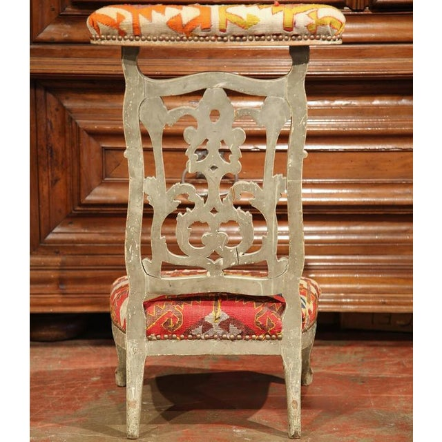 Orange 19th Century French Carved and Painted Antique Kilim Prie-Dieu Prayer  Chair For Sale - 19th Century French Carved And Painted Antique Kilim Prie-Dieu