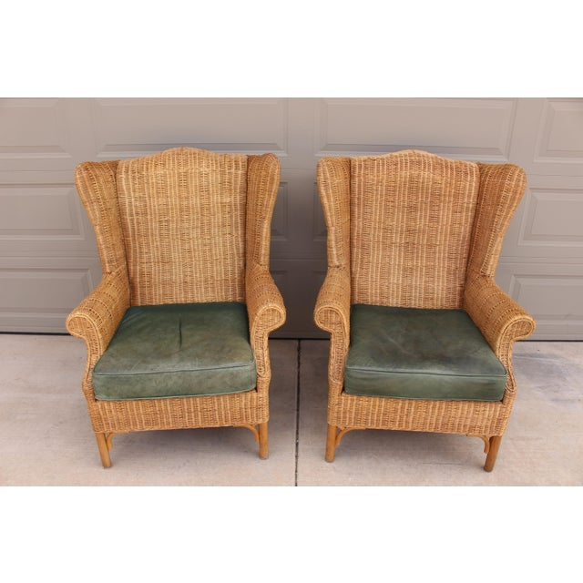 Wicker 1970s Vintage Henry Link Woven Wicker Wingback Chairs- A Pair For Sale - Image 7 of 13