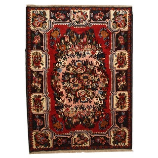 1970s Hand Made Vintage Persian Bakhtiari Rug - 3′8″ × 4′10″ For Sale