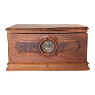 Handmade Redwood Box With Medallion For Sale