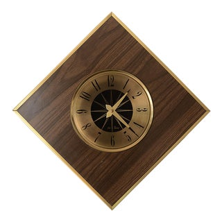 Mid Century Modern Seth Thomas Floating Diamond Wall Clock For Sale