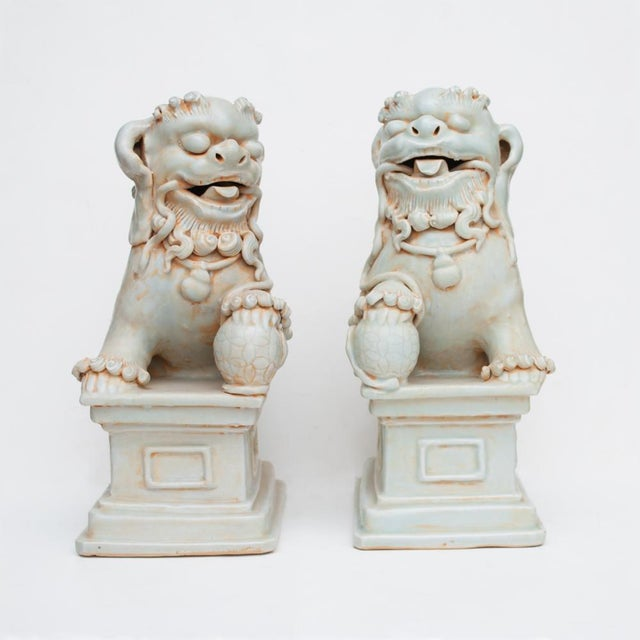 20th Century Large Chinese Celadon Foo Lions - a Pair For Sale - Image 11 of 13