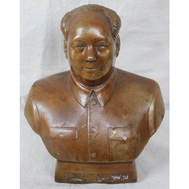 Mid 20th c. bronze bust of Mao Zedong or Mao Tse-Tung, founder of The People's Republic of China.