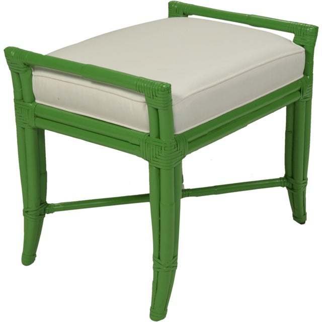 David Francis Small Malacca Bench - Bright Green For Sale - Image 4 of 4