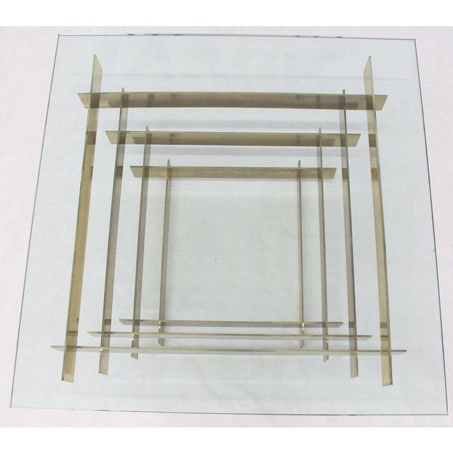 Gold 1970s Mid-Century Modern Bronze Base Glass Top Square Coffee Table For Sale - Image 8 of 12