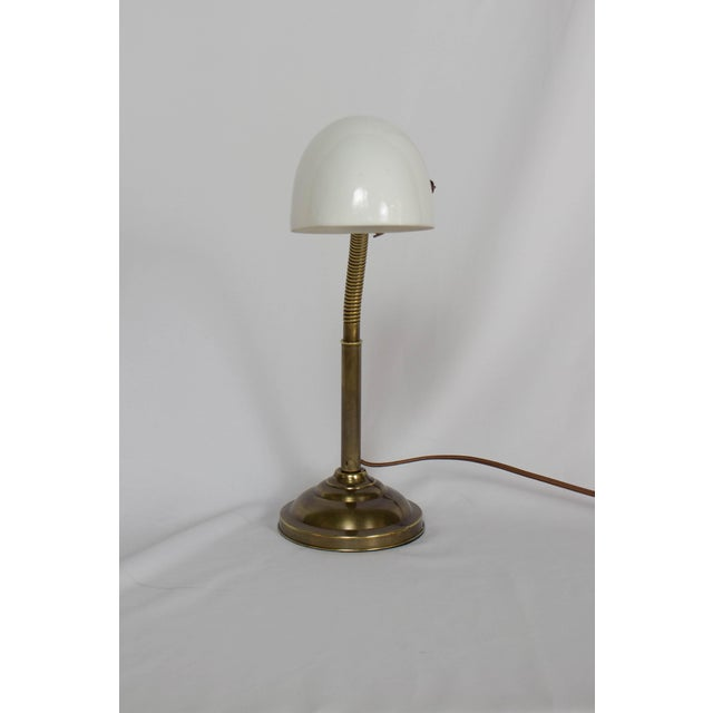Antique Brass Gooseneck Lamp with Glass Shade. Completely restored with an antique patina, rewired with new socket....