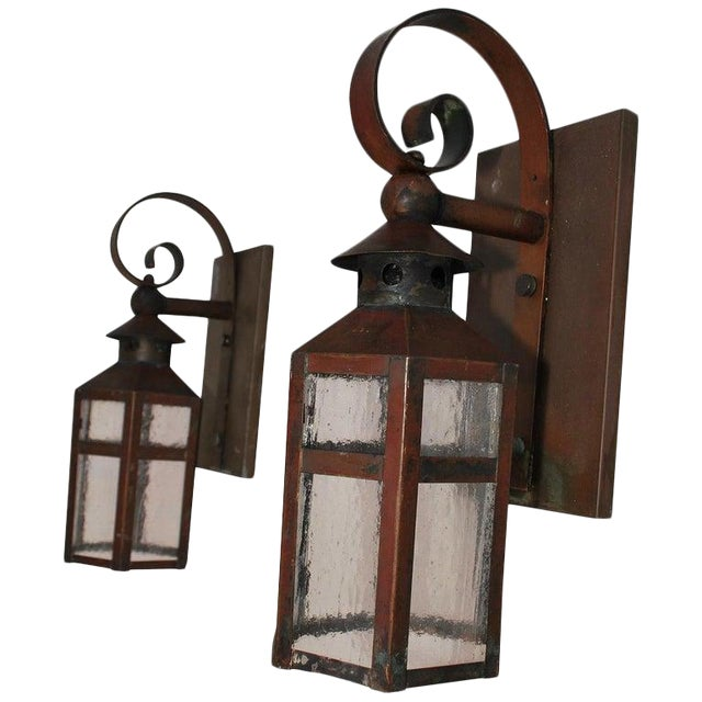 1930s Copper Outdoor Sconces - a Pair For Sale