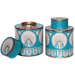 Fabienne Jouvin Turquoise Tea Caddy Jars - a Pair Preview