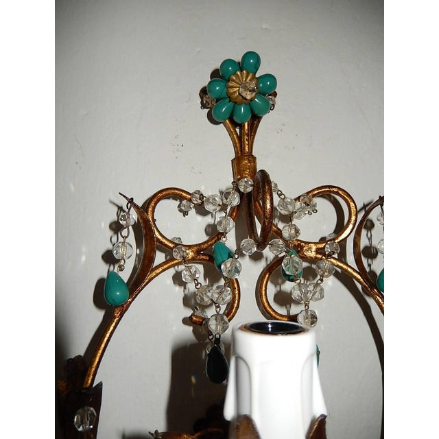 French French Turquoise Green Murano Beads Rock Crystal Swags Sconces For Sale - Image 3 of 10