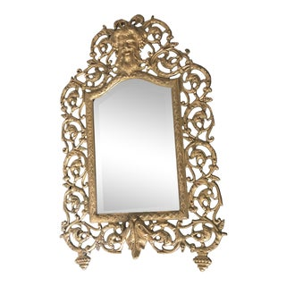 Vintage French Gothic Wall Mirror For Sale