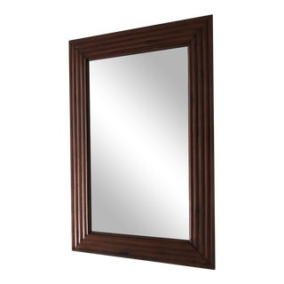 Beveled Wood Frame Wall Mirror For Sale