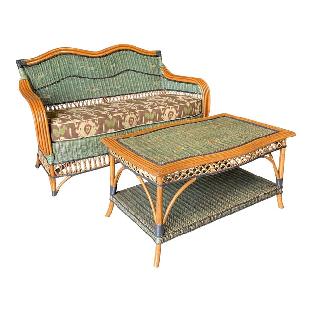 Vintage French Grange Wicker Sofa and Coffee Table For Sale