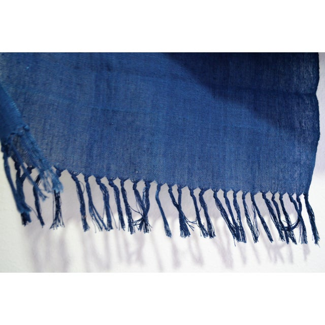 Asian Japanese Indigo Blue Natural Hand Woven Dye Cotton Table Runner With Tasseled Edge For Sale - Image 3 of 5