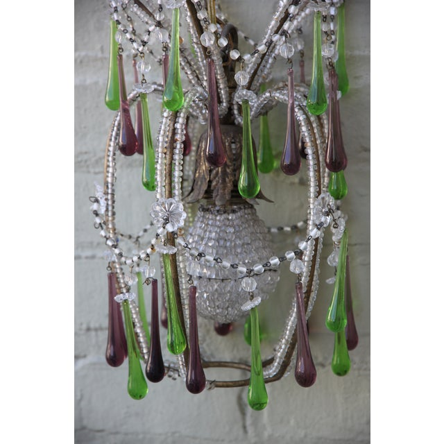 Pineapple Green & Purple Drop Chandelier - Image 4 of 9