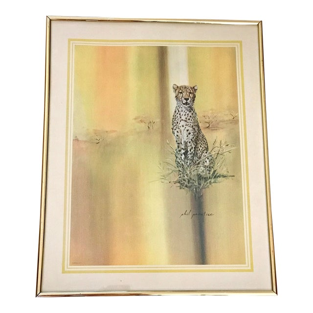 Midcentury 1970s Leopard Cheetah Wall Art For Sale