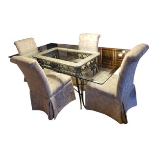 Mediterrean Glass Dining Table With 6 Chairs For Sale