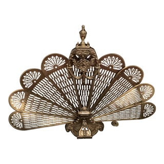 Regency Brass Folding Fire Screen For Sale