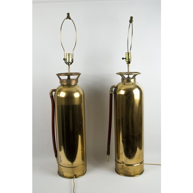 Brass Fire Extinguisher Lamps - a Pair For Sale - Image 10 of 13