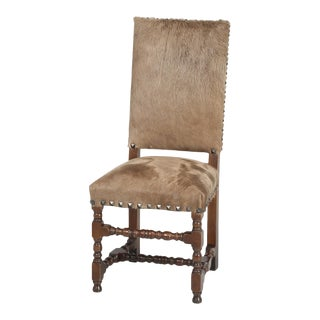 Antique French Louis XIII Style Side Chair Covered in Cow Fur on Hide For Sale